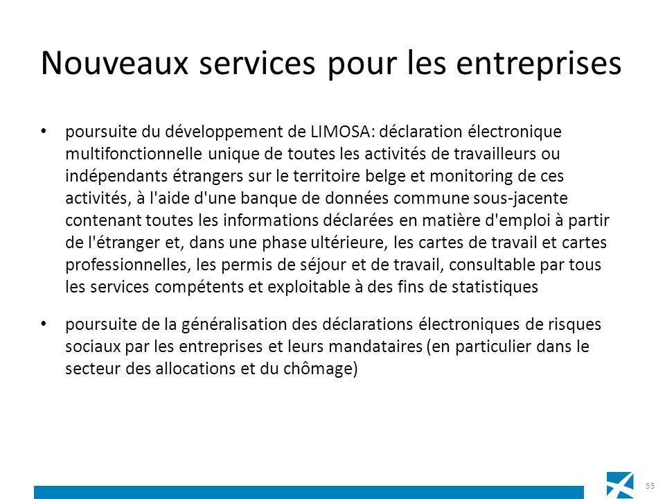 Nouveaux services pour les entreprises poursuite du développement de LIMOSA: déclaration électronique multifonctionnelle unique de toutes les activité