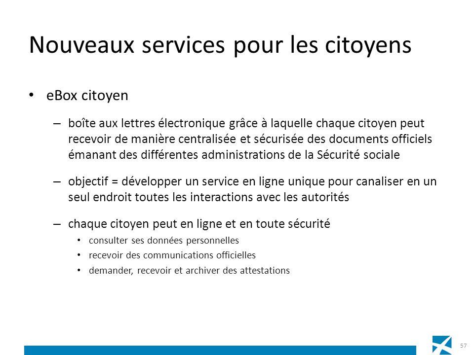 Nouveaux services pour les citoyens eBox citoyen – boîte aux lettres électronique grâce à laquelle chaque citoyen peut recevoir de manière centralisée