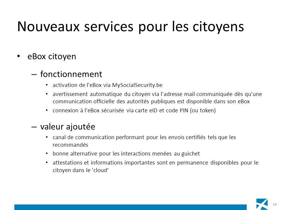 Nouveaux services pour les citoyens eBox citoyen – fonctionnement activation de l'eBox via MySocialSecurity.be avertissement automatique du citoyen vi