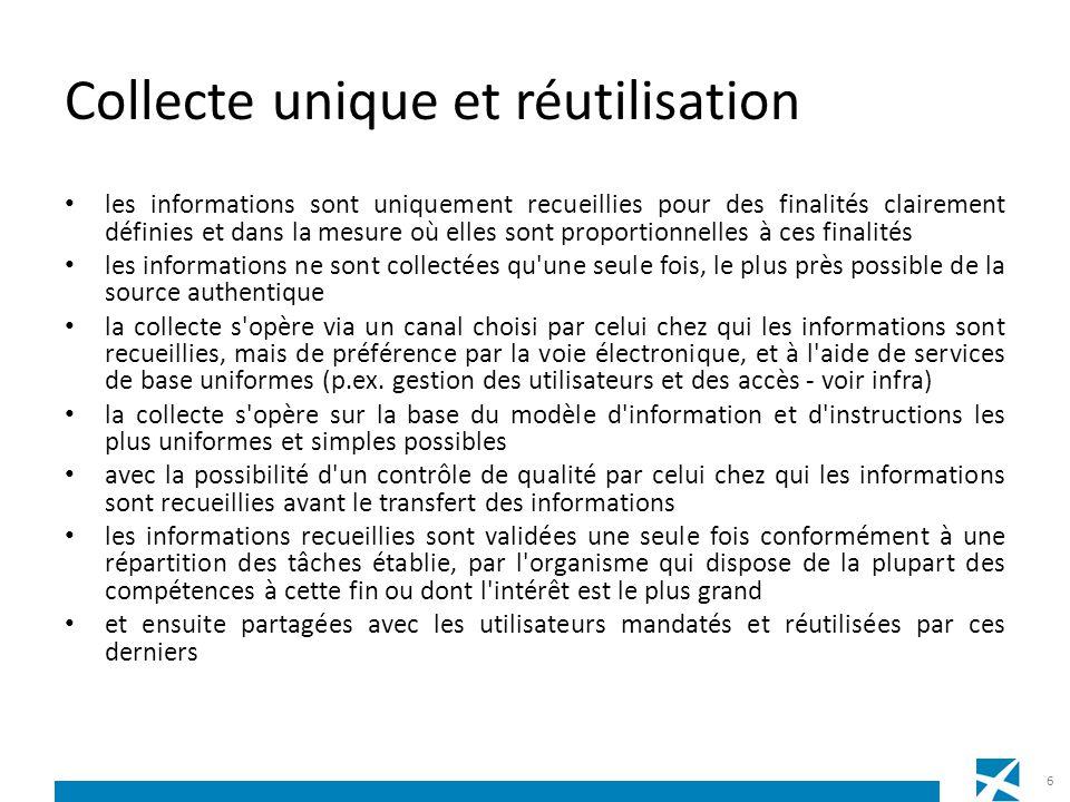 Gestion des informations une répartition fonctionnelle des tâches a été convenue quant à savoir quel organisme enregistre, gère et met à disposition quelles informations sous forme authentique pour tous les utilisateurs mandatés.