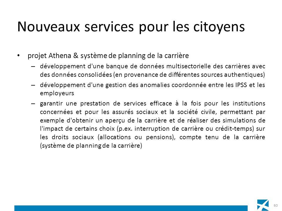 Nouveaux services pour les citoyens projet Athena & système de planning de la carrière – développement d'une banque de données multisectorielle des ca