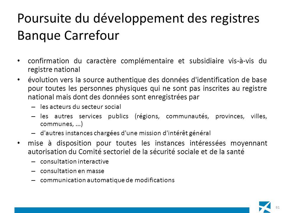 Poursuite du développement des registres Banque Carrefour confirmation du caractère complémentaire et subsidiaire vis-à-vis du registre national évolu