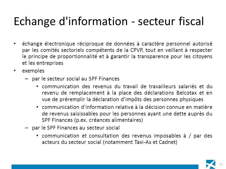Echange d'information - secteur fiscal échange électronique réciproque de données à caractère personnel autorisé par les comités sectoriels compétents