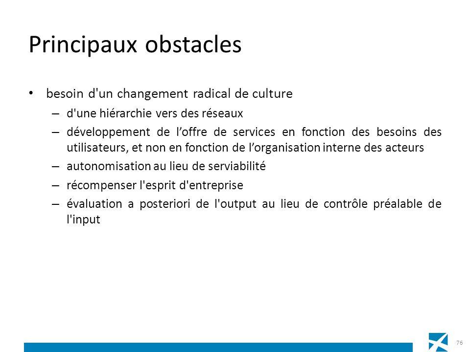 Principaux obstacles besoin d'un changement radical de culture – d'une hiérarchie vers des réseaux – développement de loffre de services en fonction d