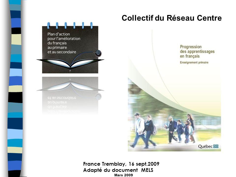 France Tremblay, 16 sept.2009 Adapté du document MELS Mars 2009 Collectif du Réseau Centre