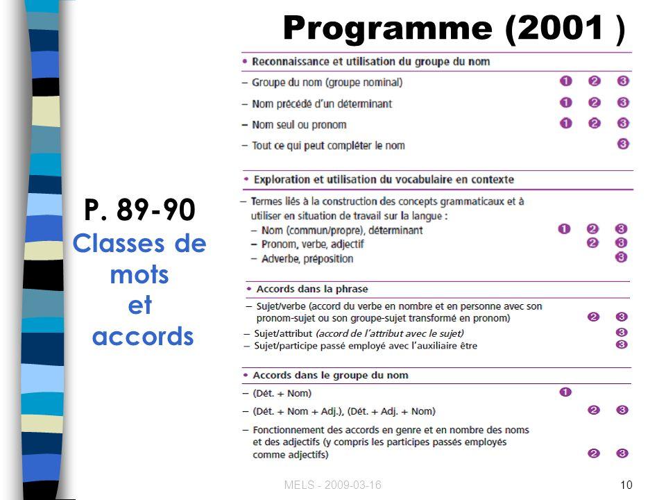 MELS - 2009-03-1610 Programme (2001 ) P. 89-90 Classes de mots et accords