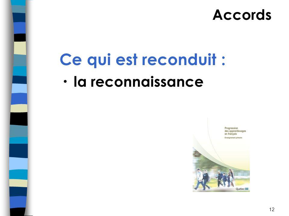 12 Ce qui est reconduit : la reconnaissance des classes de mots et du lutilisation de manuels de référence Accords