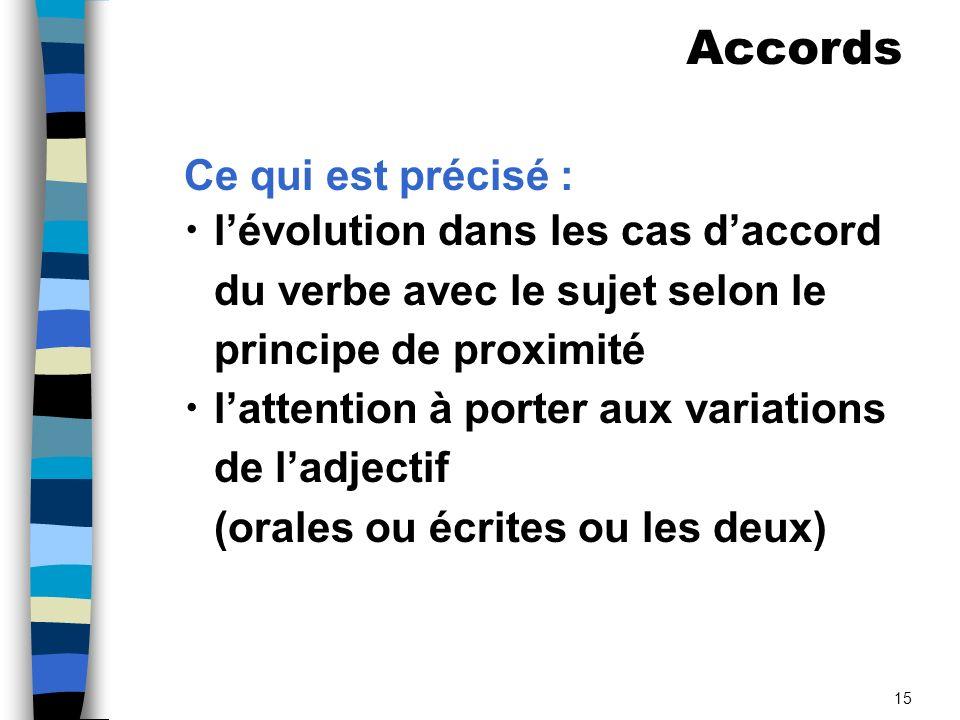 15 Ce qui est précisé : lévolution dans les cas daccord du verbe avec le sujet selon le principe de proximité lattention à porter aux variations de ladjectif (orales ou écrites ou les deux) Accords