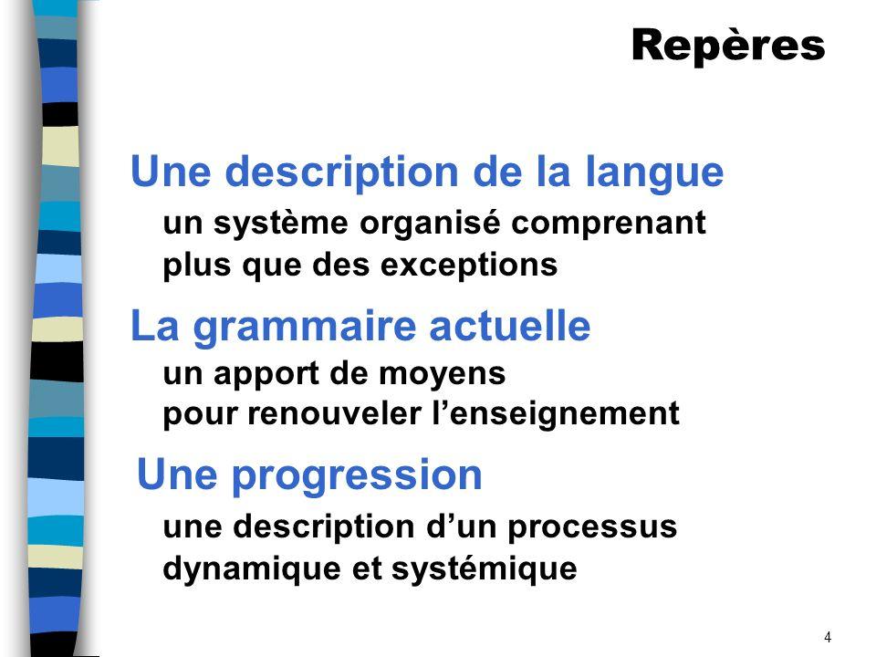 4 Une description de la langue un système organisé comprenant plus que des exceptions La grammaire actuelle un apport de moyens pour renouveler lenseignement Une progression une description dun processus dynamique et systémique Repères