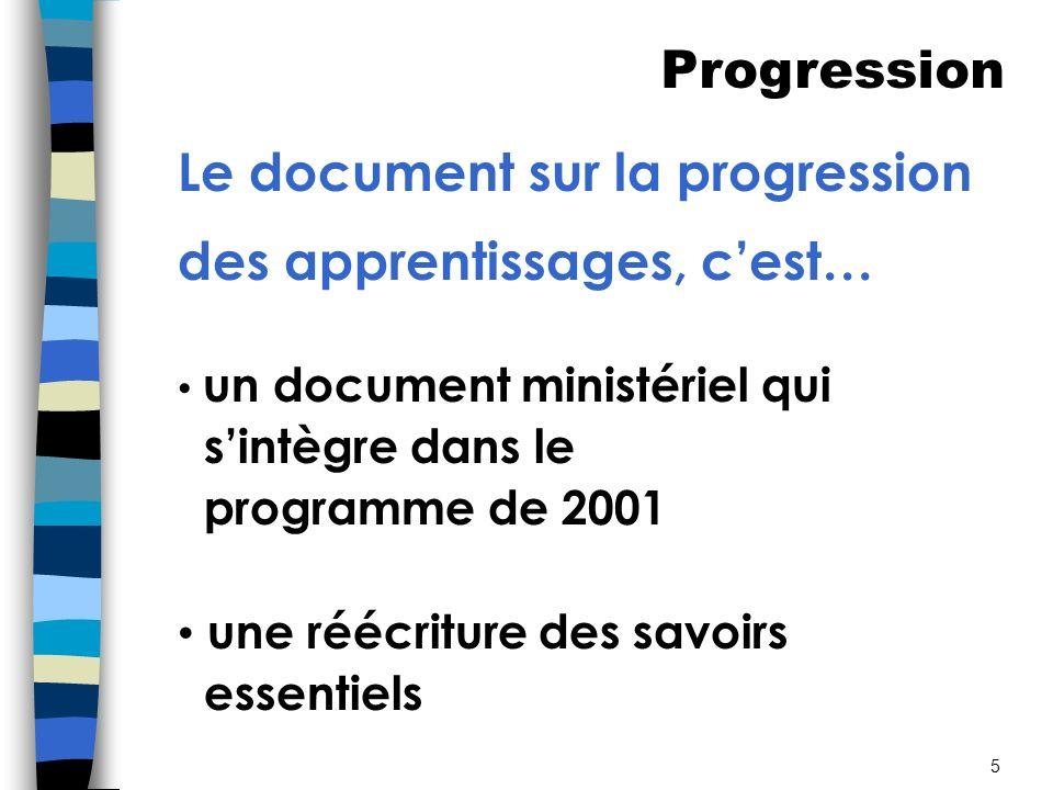 5 Le document sur la progression des apprentissages, cest… un document ministériel qui sintègre dans le programme de 2001 une réécriture des savoirs essentiels Progression