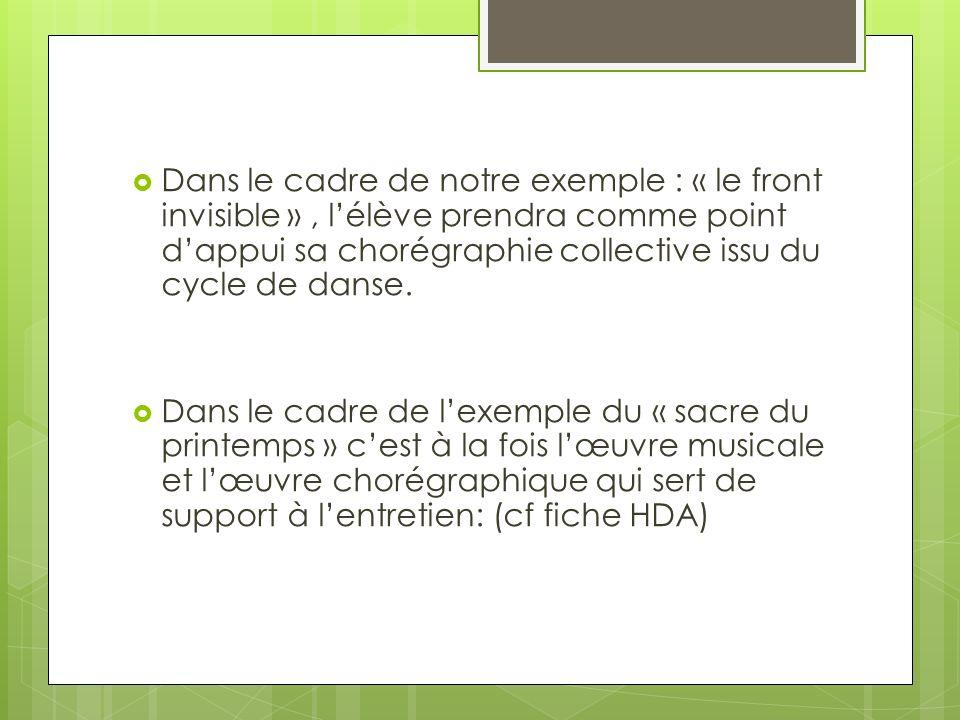 Dans le cadre de notre exemple : « le front invisible », lélève prendra comme point dappui sa chorégraphie collective issu du cycle de danse.