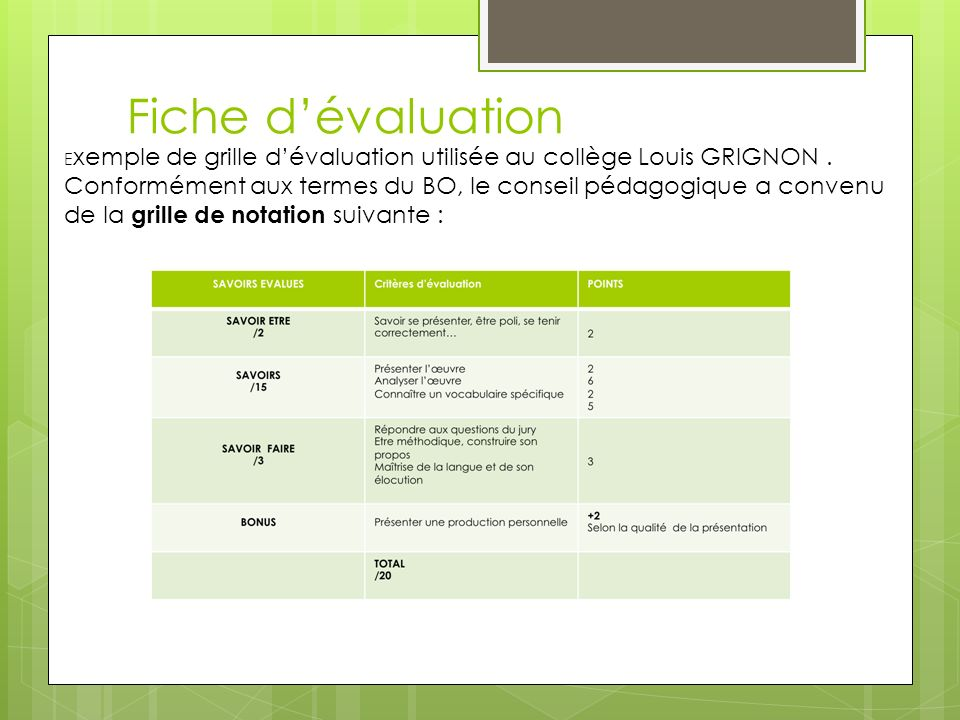 Fiche dévaluation E xemple de grille dévaluation utilisée au collège Louis GRIGNON.