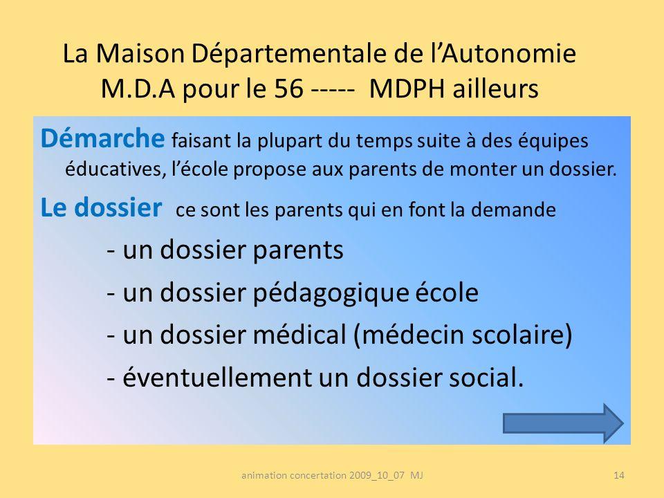 La Maison Départementale de lAutonomie M.D.A pour le 56 ----- MDPH ailleurs Démarche faisant la plupart du temps suite à des équipes éducatives, lécol