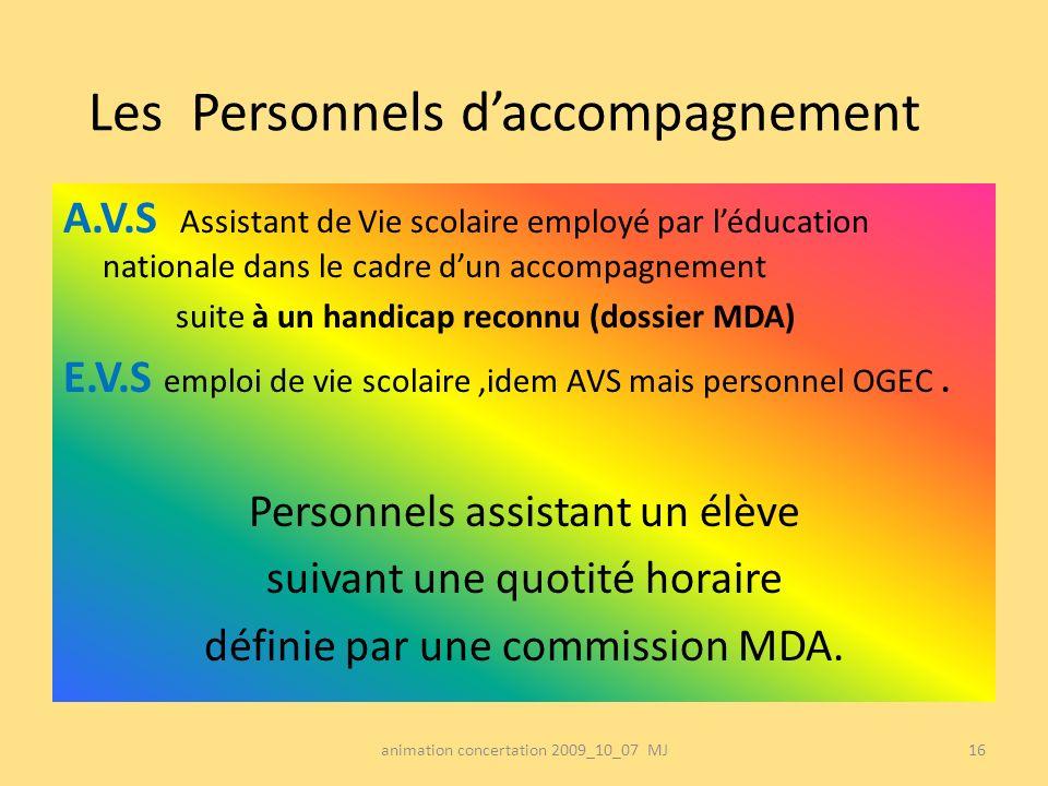 Les Personnels daccompagnement A.V.S Assistant de Vie scolaire employé par léducation nationale dans le cadre dun accompagnement suite à un handicap r