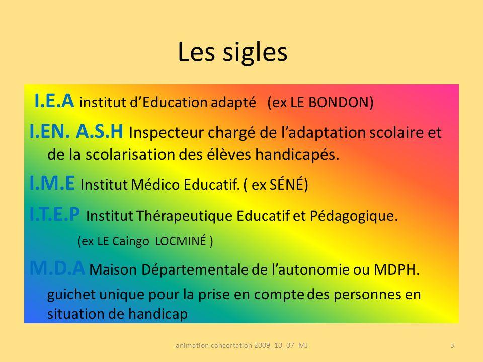 Les sigles I.E.A institut dEducation adapté (ex LE BONDON) I.EN. A.S.H Inspecteur chargé de ladaptation scolaire et de la scolarisation des élèves han
