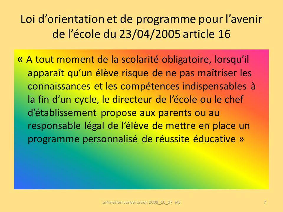 Loi dorientation et de programme pour lavenir de lécole du 23/04/2005 article 16 « A tout moment de la scolarité obligatoire, lorsquil apparaît quun é