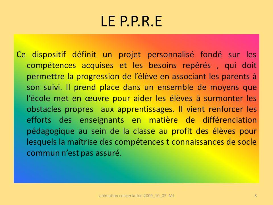 LE P.P.R.E Ce dispositif définit un projet personnalisé fondé sur les compétences acquises et les besoins repérés, qui doit permettre la progression d