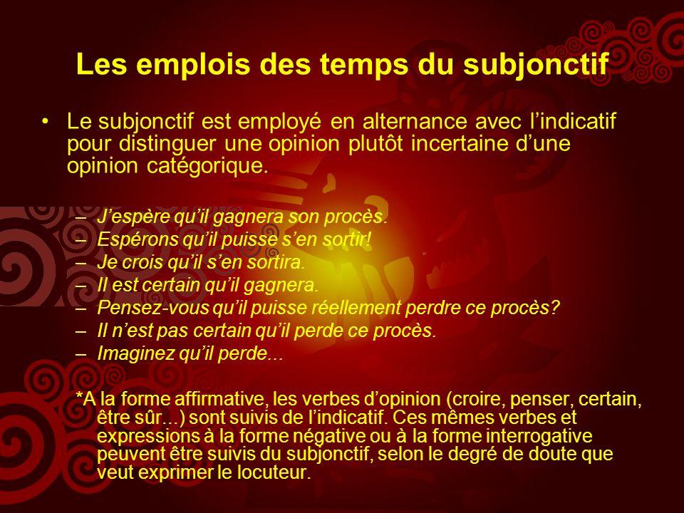 Les emplois des temps du subjonctif Le subjonctif est employé en alternance avec lindicatif pour distinguer une opinion plutôt incertaine dune opinion catégorique.