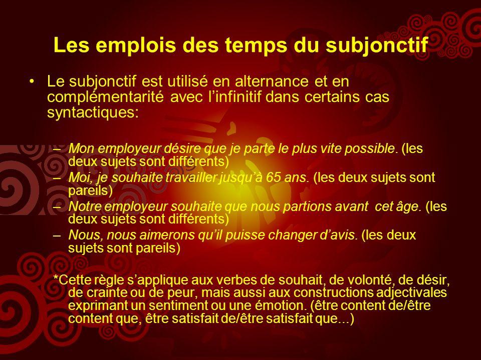 Les emplois des temps du subjonctif Le subjonctif est utilisé en alternance et en complémentarité avec linfinitif dans certains cas syntactiques: –Mon employeur désire que je parte le plus vite possible.