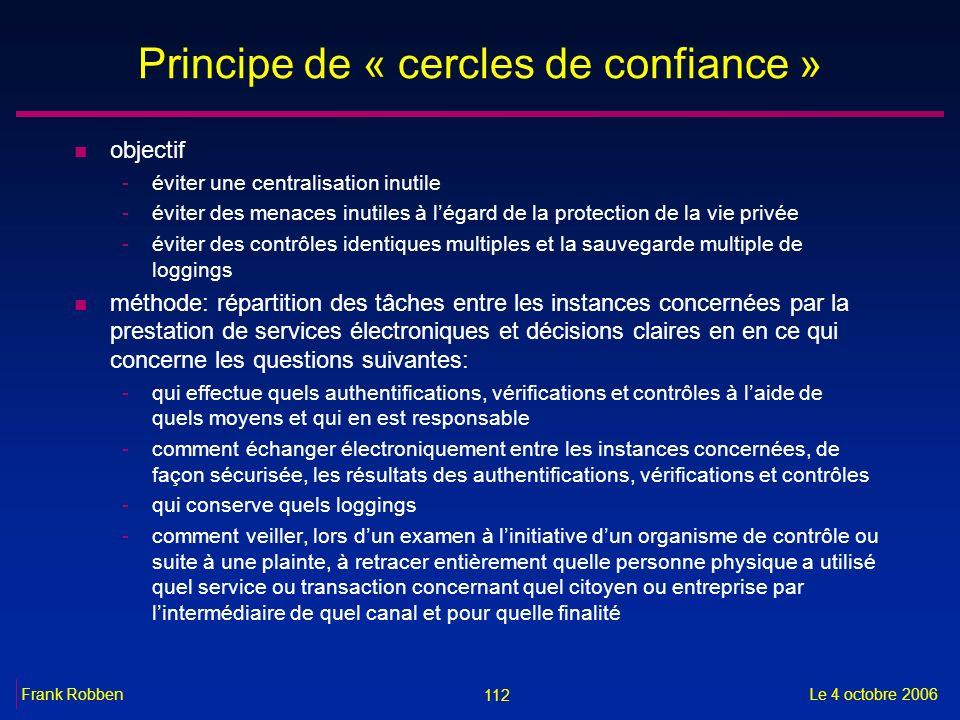112 Le 4 octobre 2006Frank Robben Principe de « cercles de confiance » n objectif -éviter une centralisation inutile -éviter des menaces inutiles à lé