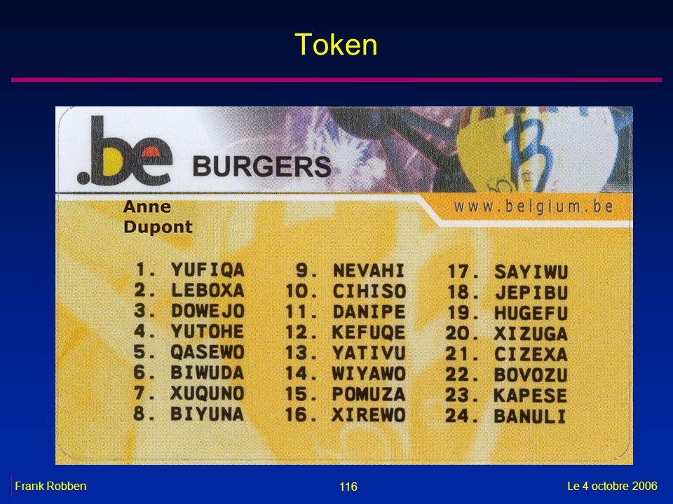 116 Le 4 octobre 2006Frank Robben Token