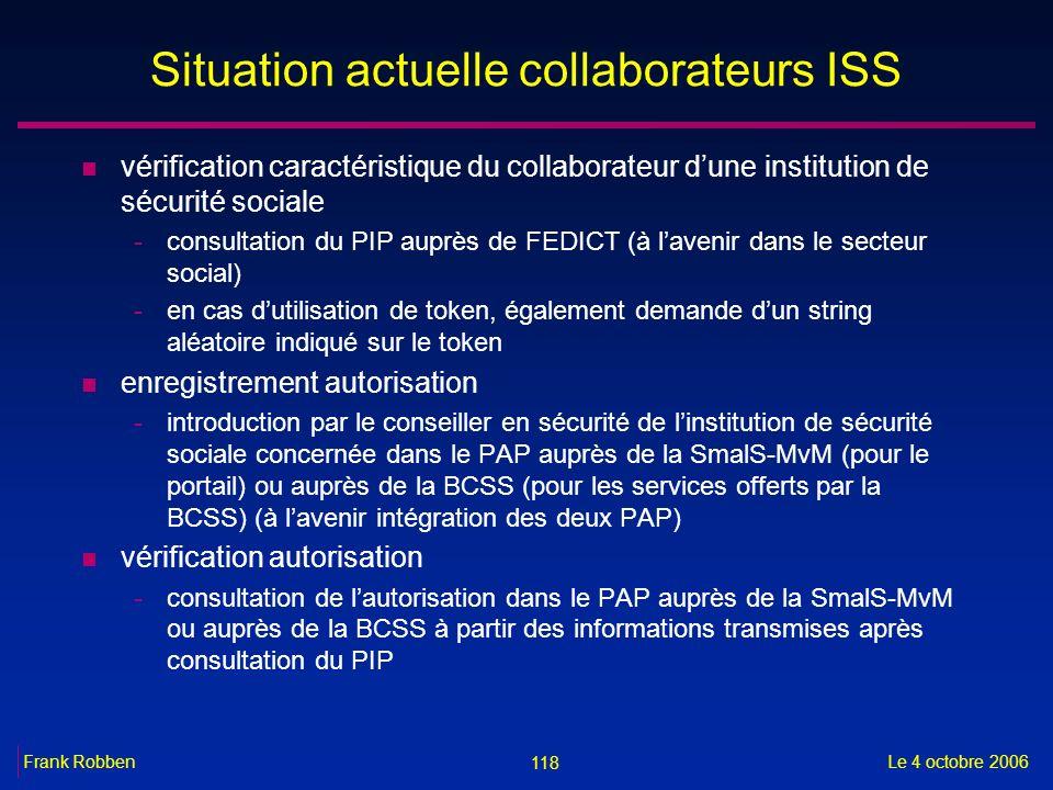 118 Le 4 octobre 2006Frank Robben Situation actuelle collaborateurs ISS n vérification caractéristique du collaborateur dune institution de sécurité s