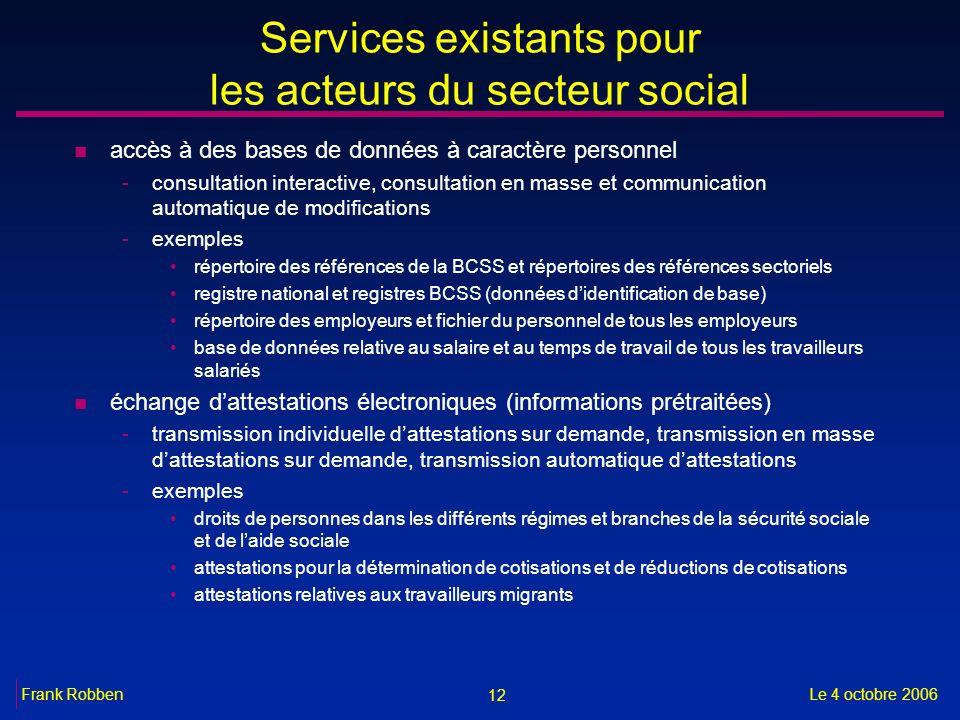 12 Le 4 octobre 2006Frank Robben Services existants pour les acteurs du secteur social n accès à des bases de données à caractère personnel -consultat
