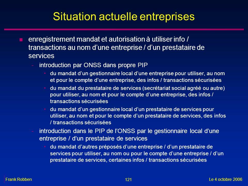 121 Le 4 octobre 2006Frank Robben Situation actuelle entreprises n enregistrement mandat et autorisation à utiliser info / transactions au nom dune en