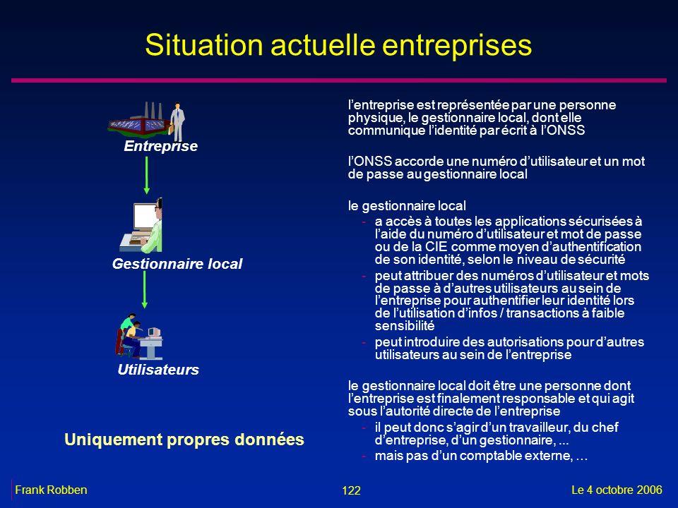 122 Le 4 octobre 2006Frank Robben Situation actuelle entreprises lentreprise est représentée par une personne physique, le gestionnaire local, dont el
