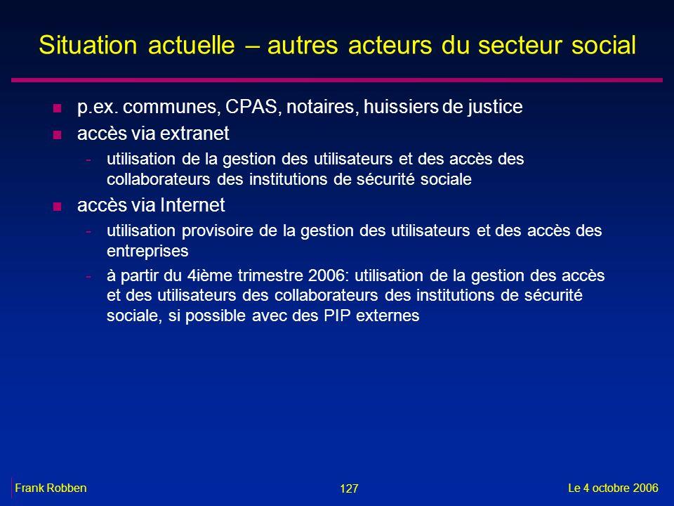 127 Le 4 octobre 2006Frank Robben Situation actuelle – autres acteurs du secteur social n p.ex. communes, CPAS, notaires, huissiers de justice n accès