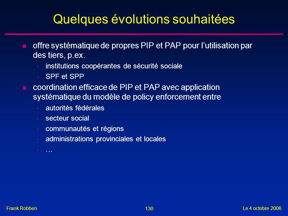 130 Le 4 octobre 2006Frank Robben Quelques évolutions souhaitées n offre systématique de propres PIP et PAP pour lutilisation par des tiers, p.ex. -in