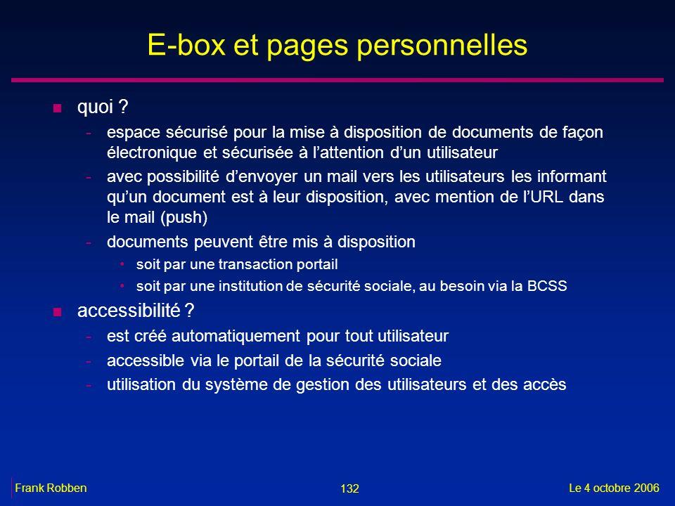 132 Le 4 octobre 2006Frank Robben E-box et pages personnelles n quoi ? -espace sécurisé pour la mise à disposition de documents de façon électronique