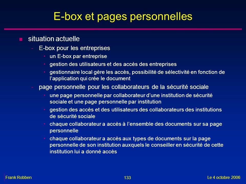 133 Le 4 octobre 2006Frank Robben E-box et pages personnelles n situation actuelle -E-box pour les entreprises un E-box par entreprise gestion des uti