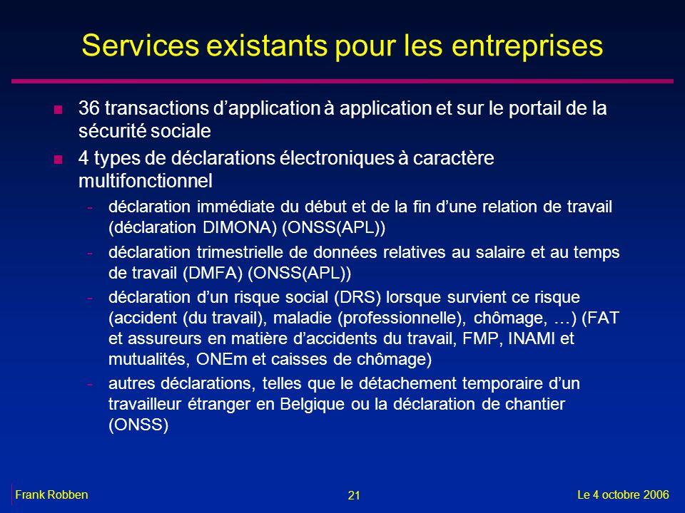 21 Le 4 octobre 2006Frank Robben Services existants pour les entreprises n 36 transactions dapplication à application et sur le portail de la sécurité