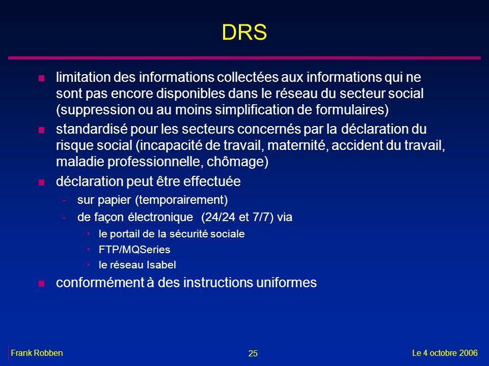 25 Le 4 octobre 2006Frank Robben DRS n limitation des informations collectées aux informations qui ne sont pas encore disponibles dans le réseau du se