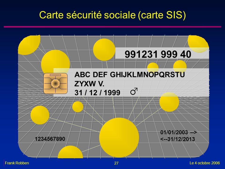 27 Le 4 octobre 2006Frank Robben Carte sécurité sociale (carte SIS) 991231 999 40 ABC DEF GHIJKLMNOPQRSTU ZYXW V. 31 / 12 / 1999 1234567890 01/01/2003