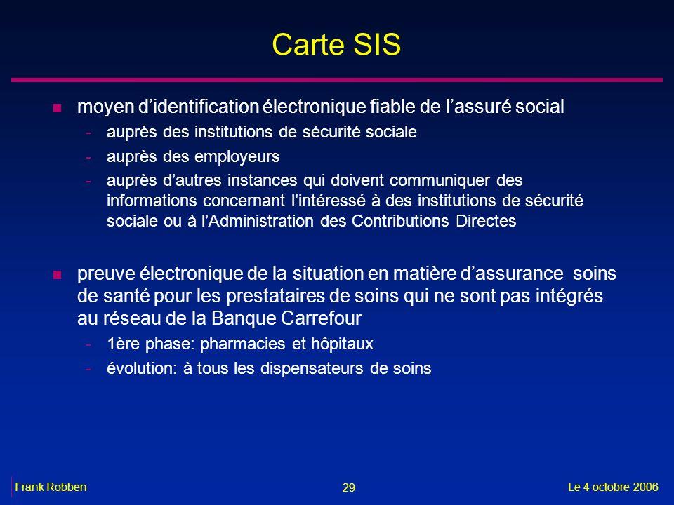 29 Le 4 octobre 2006Frank Robben Carte SIS n moyen didentification électronique fiable de lassuré social -auprès des institutions de sécurité sociale