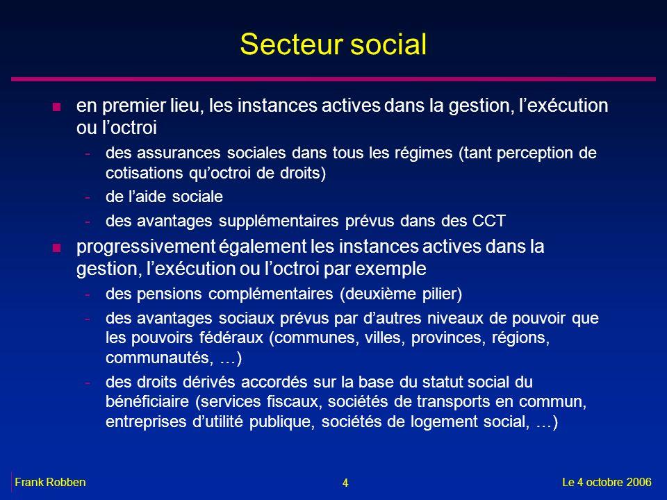 4 Le 4 octobre 2006Frank Robben Secteur social n en premier lieu, les instances actives dans la gestion, lexécution ou loctroi -des assurances sociale