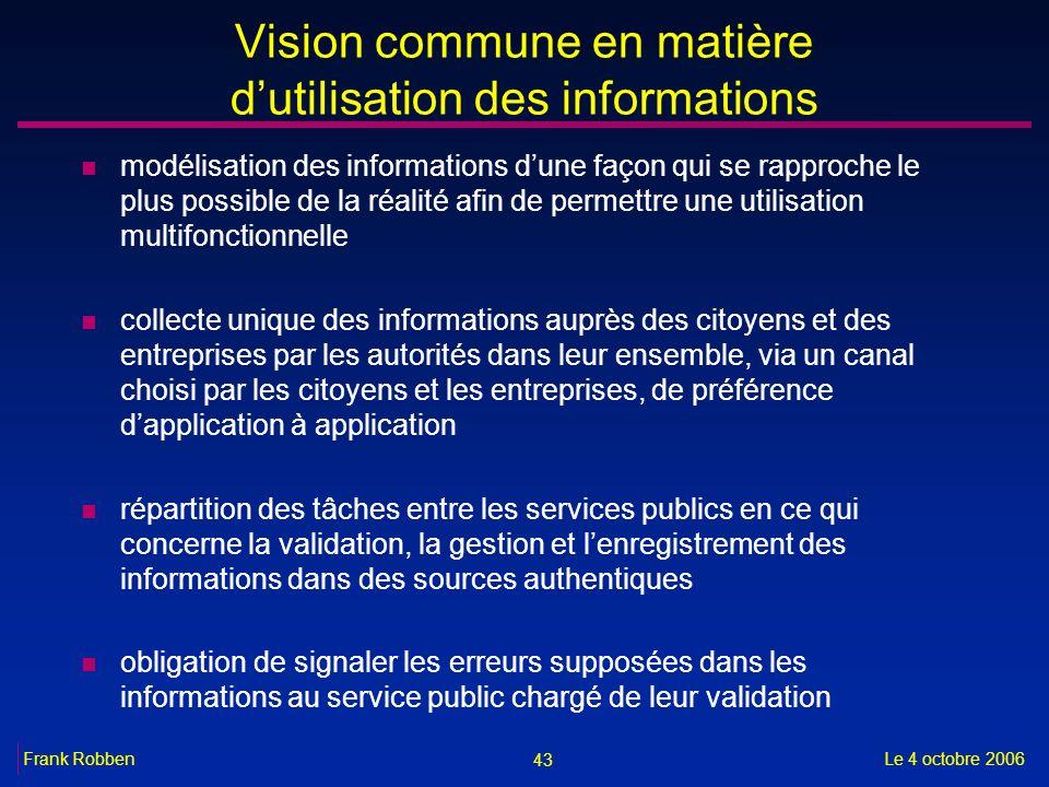 43 Le 4 octobre 2006Frank Robben Vision commune en matière dutilisation des informations n modélisation des informations dune façon qui se rapproche l