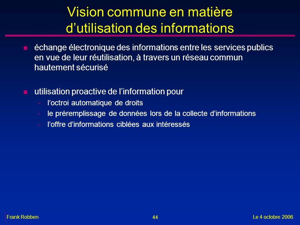 44 Le 4 octobre 2006Frank Robben Vision commune en matière dutilisation des informations n échange électronique des informations entre les services pu