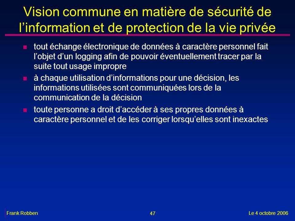 47 Le 4 octobre 2006Frank Robben Vision commune en matière de sécurité de linformation et de protection de la vie privée n tout échange électronique d