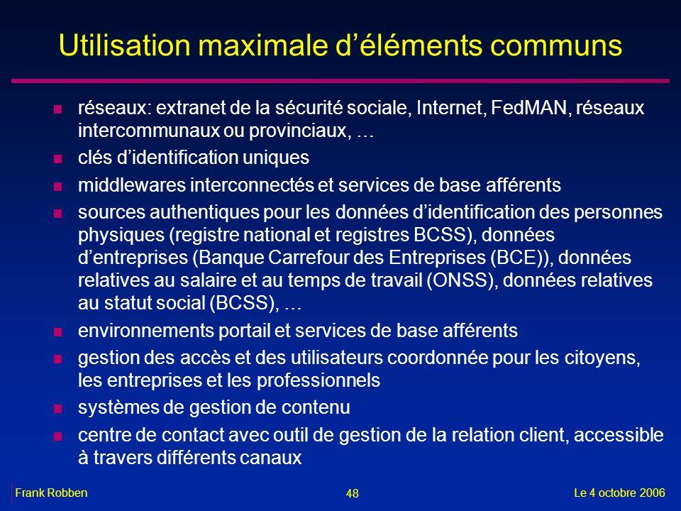 48 Le 4 octobre 2006Frank Robben Utilisation maximale déléments communs n réseaux: extranet de la sécurité sociale, Internet, FedMAN, réseaux intercom