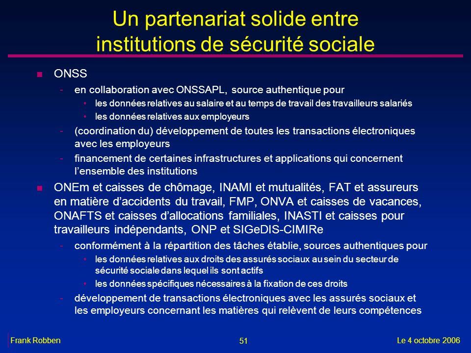 51 Le 4 octobre 2006Frank Robben Un partenariat solide entre institutions de sécurité sociale n ONSS -en collaboration avec ONSSAPL, source authentiqu