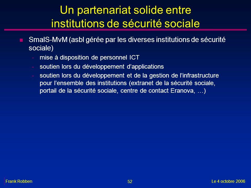 52 Le 4 octobre 2006Frank Robben Un partenariat solide entre institutions de sécurité sociale n SmalS-MvM (asbl gérée par les diverses institutions de