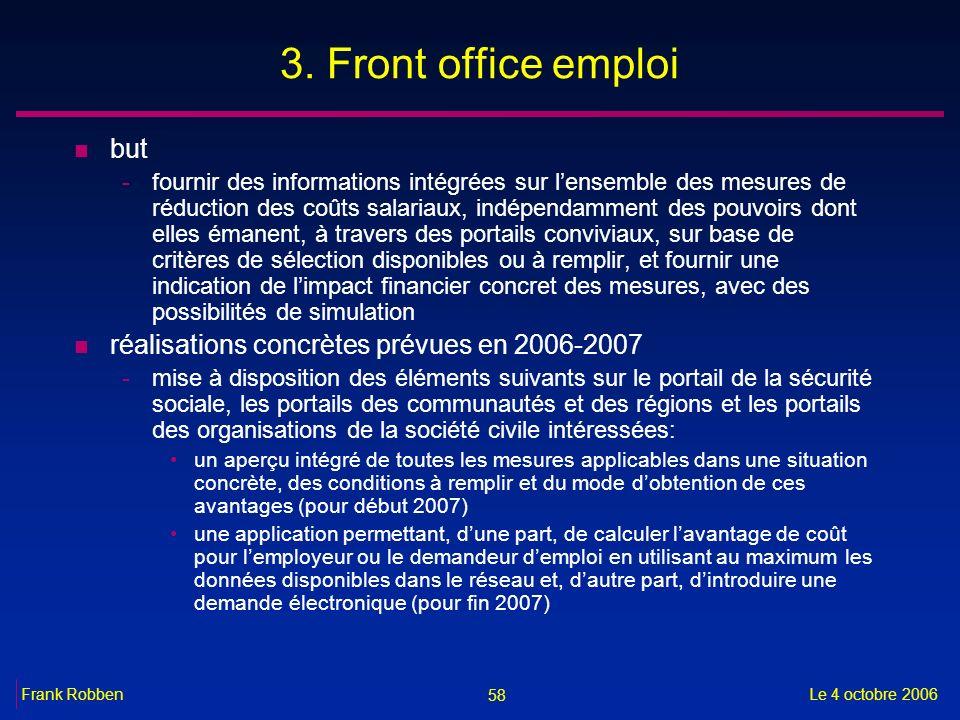 58 Le 4 octobre 2006Frank Robben 3. Front office emploi n but -fournir des informations intégrées sur lensemble des mesures de réduction des coûts sal