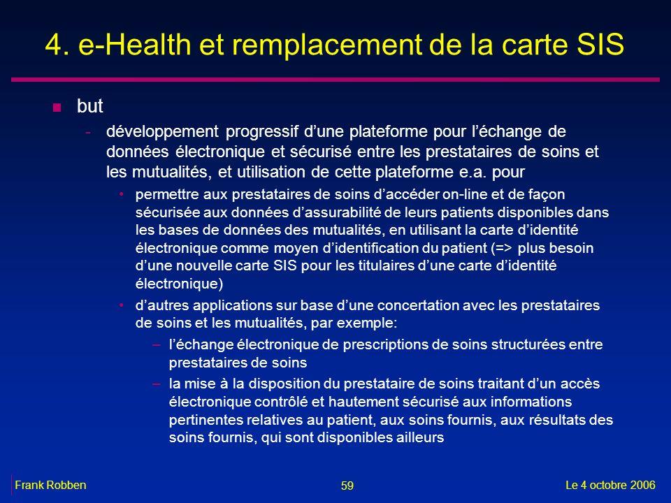 59 Le 4 octobre 2006Frank Robben 4. e-Health et remplacement de la carte SIS n but -développement progressif dune plateforme pour léchange de données