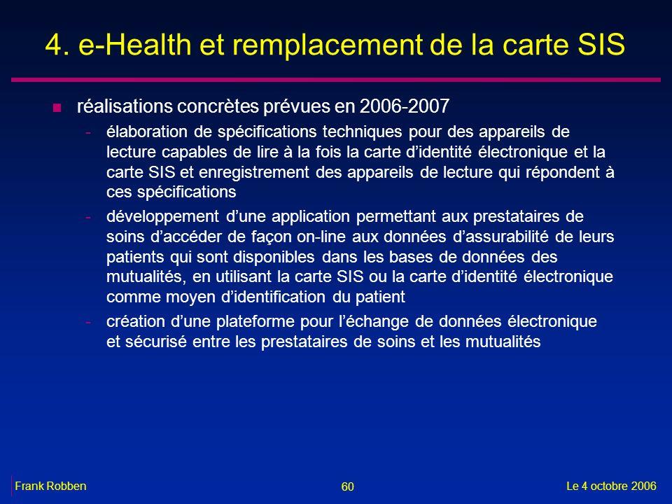 60 Le 4 octobre 2006Frank Robben 4. e-Health et remplacement de la carte SIS n réalisations concrètes prévues en 2006-2007 -élaboration de spécificati