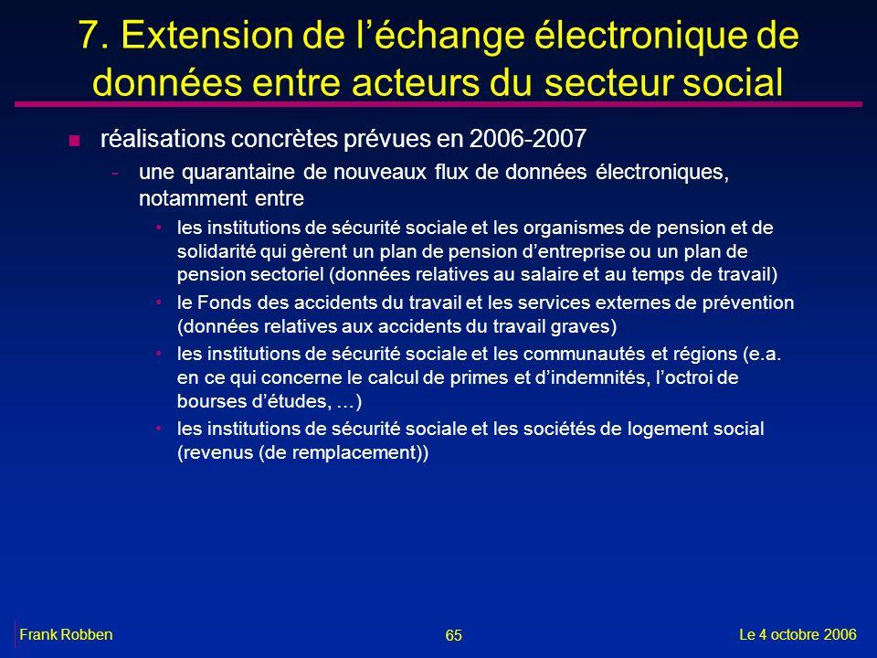 65 Le 4 octobre 2006Frank Robben 7. Extension de léchange électronique de données entre acteurs du secteur social n réalisations concrètes prévues en