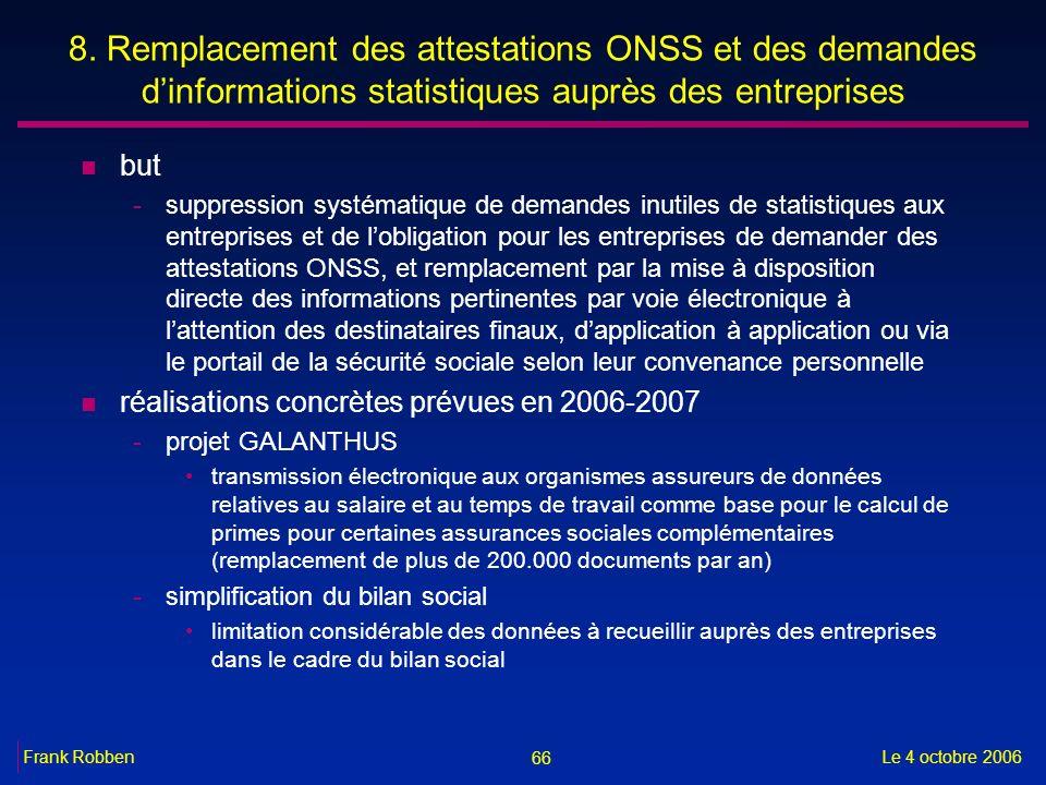 66 Le 4 octobre 2006Frank Robben 8. Remplacement des attestations ONSS et des demandes dinformations statistiques auprès des entreprises n but -suppre