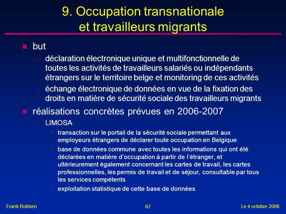 67 Le 4 octobre 2006Frank Robben 9. Occupation transnationale et travailleurs migrants n but -déclaration électronique unique et multifonctionnelle de
